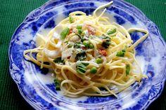 Fettuccine and Prosciutto in a Basil Parmesan Cream Sauce via @Launie K.