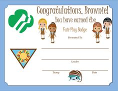 Brownie Fair Play Badge Certificate