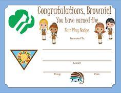 Brownie Fair Play Badge Certificate