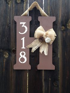 Monogram Door Hanger with Burlap Bow, Flowers, and Street Number..