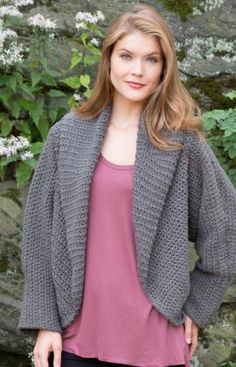 All Around Warm Jacket Crochet Pattern.  Free Pattern from Red Heart.  Skill Level: Easy