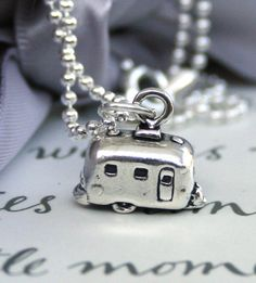 Retro Airstream Camper Sterling Silver Let's Go Camping on Etsy, $26.00