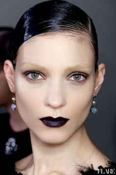fall fashions, goth, bottega veneta, fall 2012, show makeup, dark lips, beauti, beauty, black