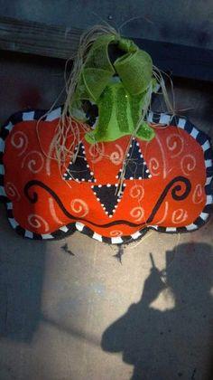 Halloween Jack O Lantern Burlap Door Hanger by FantasticlyFunky, $40.00