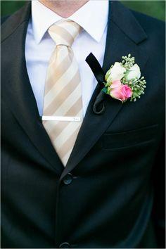 champagne and black groom look #groom #stripedtie #weddingchicks http://www.weddingchicks.com/2014/03/24/shabby-chic-and-glam-wedding/