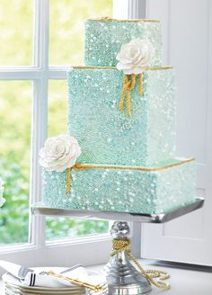 Seafoam Glitter Wedding Cake