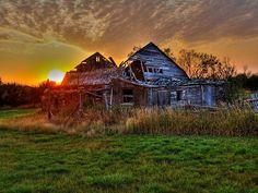 Sunset on an old barn . . . reclaimed barn wood, sunset, old barns
