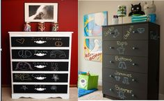 Chalkboard paint can completely change your child's dresser.  It's a fun and easy for#DIY . CLICK to find out how to make one : http://www.babydeco.co.uk/12-creative-diy-nursery-ideas/