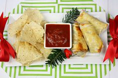 Cantina Egg Rolls featuring Tostitos Cantina Traditional tortilla chips and Tostitos Cantina Roasted Garlic Thick & Chunky Salsa #FritoLayHoliday