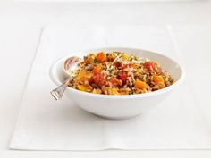 Warm Farro Salad #Grains #Veggies #GrainSalad #MyPlate #FNMag