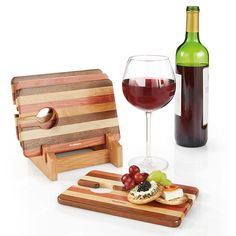 Wine & Snack Trays (Set of 4) Keep a hand free while enjoying wine and snacks. Snacks go on tray, wine glass rests in cut-out. Laminated walnut, cherry, padauk and maple finishes.