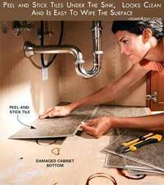 Clean up under the cabinet with peel & stick tiles