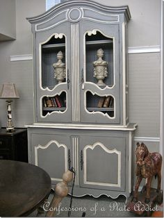 Gray and white painted hutch