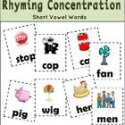 Rhyming Concentration has 24 pairs of cards to match short vowel words. Each card has a picture to go along with each word.  Use the cards to play ...