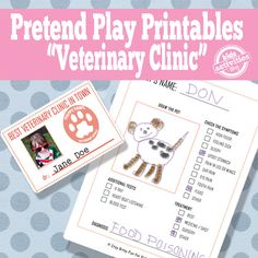 Veterinary Office Pretend Play Free Kids Printable