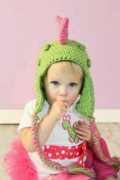 Crochet girls dino hat!