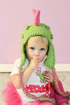 crochet hat, diva dinosaur, dinosaur hat, costum babi, dino diva