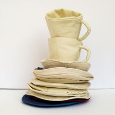 fabric tea cups and saucers