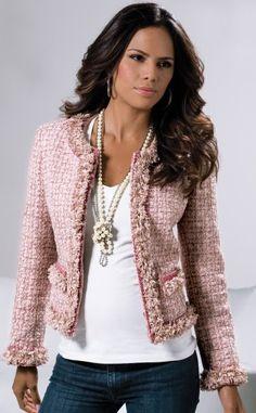 Gorgeous pink Chanel jacket with that amazing fringe edging!