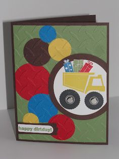 Love some of the elements in this card #stampinup truck birthday, stamp sets, happy birthdays, birthday boys, masculine cards, boy cards, kid birthdays, digi stamps, kids birthday cards