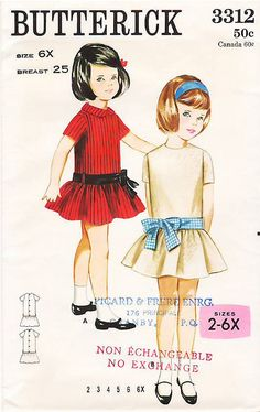 Vintage Pattern Butterick 3312 Girls' Dress 60s Size 6X by La-Prairie-Lady, via Flickr