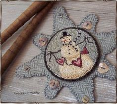 Punch needle snowman, charming finish