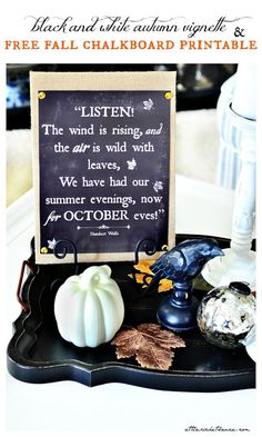black and white fall vignette and free chalkboard printable