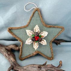 Burlap Beach Star Coastal Christmas decor ornament in sage green