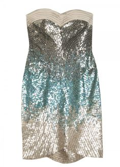 Turquoise & Silver Sequin Cocktail Dress