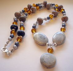 Tan Grey and Gold  Beaded Necklace