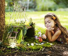 Fairy House  Have the kids explore the backyard to collect their building materials, such as twigs, moss, leaves, and stones. Use a little bit of glue, and a home for the fairies will really come to life.