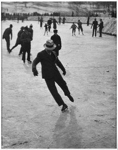 histori, ice skate, vintage winter, winter fun, fedoras, 1937, black white, ice skating, photographi