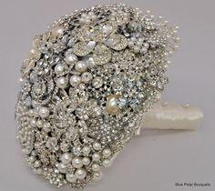 Cascading Diamante by Blue Petyl Bouquets #bridal #bouquet #diamante