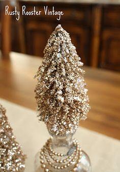 Glittered bottle brush trees