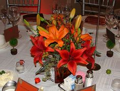 fall wedding centerpieces with lilies