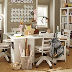 homework station, work stations, study rooms, study areas, school rooms, craft tables, pb teen, pottery barn, craft rooms