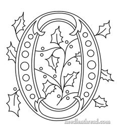 Hand Embroidery Pattern: Christmas Monogram O