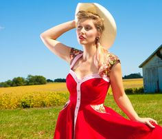 Rodeo Sweetheart Dress  Western Cowgirl Pinup Vintage by RockinB, $460.00