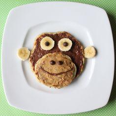 Nutella & Banana {Monkey} Pancakes make an easy, fun and energizing breakfast, snack or dessert.