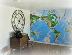 houses, plank walls, wall map, dream hous, map wall, diy, pottery barn, kid room, house projects