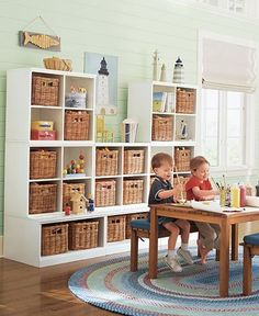 Exactly what I would like a play room to look like, but how long do you think it would take before it wasn't that organized?? :)