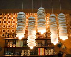 store display, idea, anthropologi store, stage design, filter light, anthropologie, coffee filters, paper plates, coffe filter