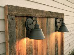 Barnwood Headboard w/lighting Gage Collection by ReBarnCHF on Etsy, $375.00  barnwood mason jar light reclaimed wood vintage rustic shabby chic