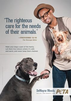 DeWayne Woods & his pups bring on the cuteness in this PETA ad! #cute #celebs #aww #dogs #adorbs