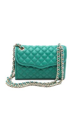 Quilted Rebecca Minkoff bag in the perfect emerald. Anyone can wear this color.