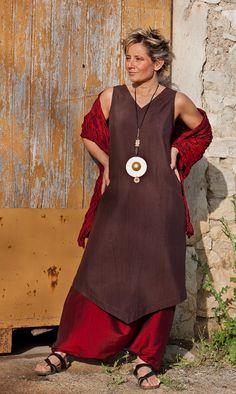 Lagenlook: Dark Purple shantung silk tunic and harem pants