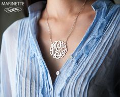 1.75 inch Monogram necklace in sterling silver by MarinetteJewelry, $104.00