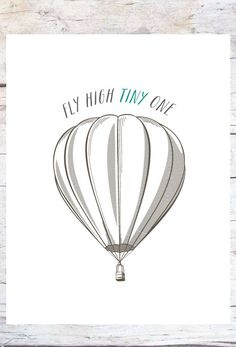 fly high TINY one // Girl & Boys Nursery Art // Vintage Hot Air Balloon // Unique Baby Shower Gift