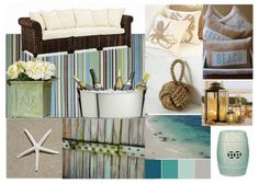 I LOVE this inspiration board for creating an Outdoor Beach Retreat... Love the colors, and it has ALL the elements, texture, color, some natural elements and some bling, as well as rustic.  LOVE IT. WANT IT!  #springintothedream