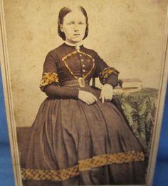 Civil-War-Era-CDV-Photo-Woman-Dress-w-Tinted-Trim-Tablecloth-Revenue-Stamp cdv
